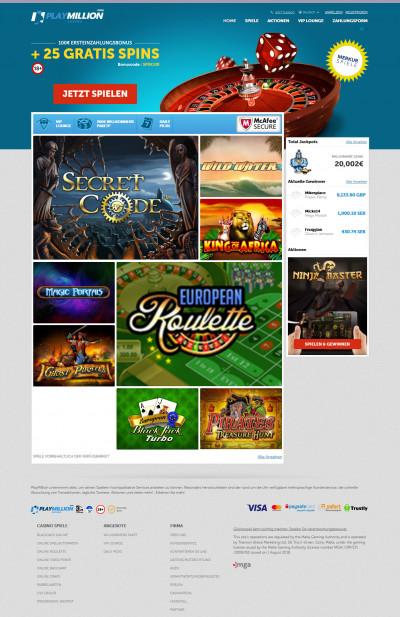 Playmillion Casino kuvakaappaus