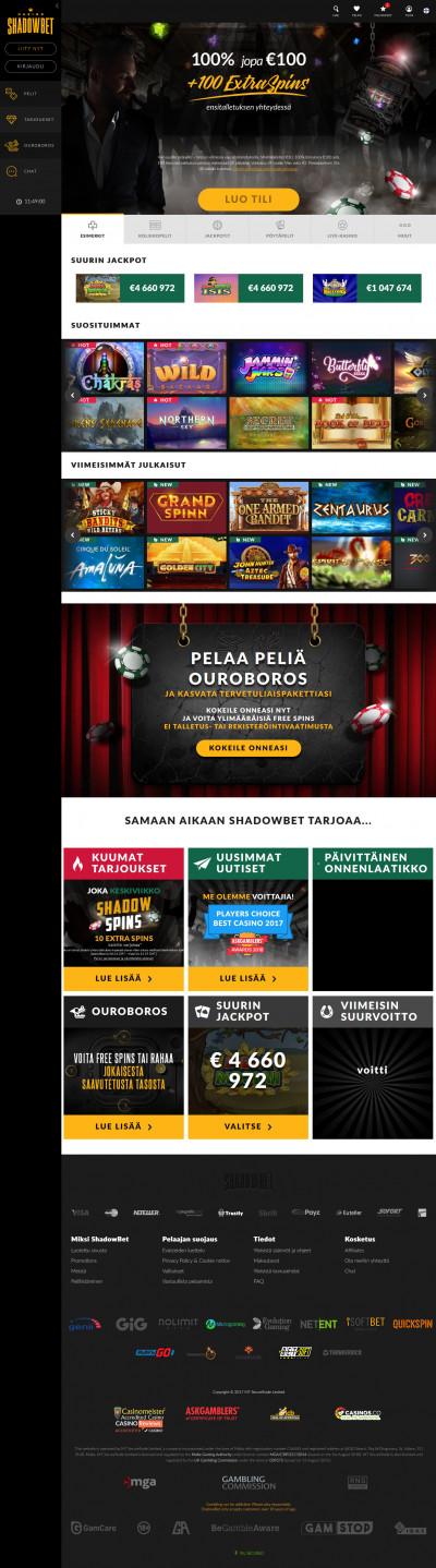 Shadowbet Casino kuvakaappaus