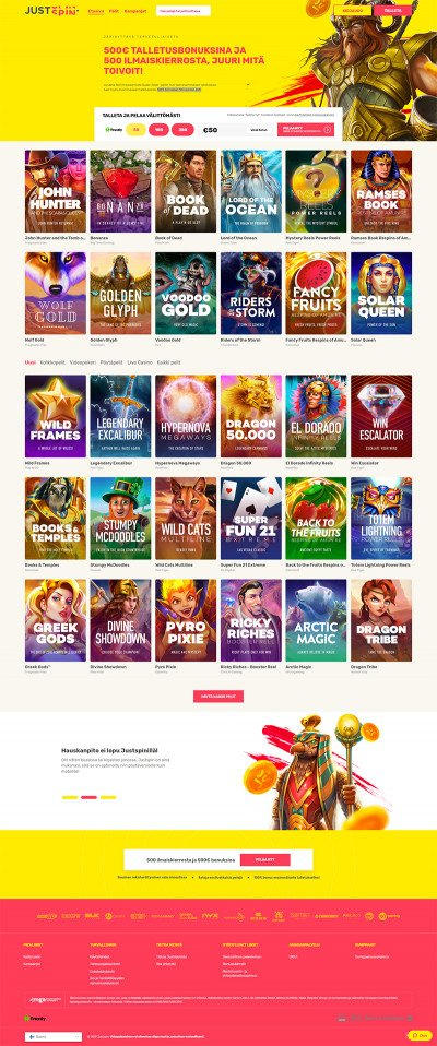 Justspin Casino Screenshot
