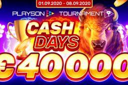 【9月9日まで】プレイソン社スロットで遊んで賞金をもらおう!CASH DAYSトーナメント開催中