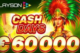 【4月9日まで】優勝者に10,000ユーロが当たる!上位350名に豪華な賞金が当たるPLAYSONのキャッシュデイズ開催中