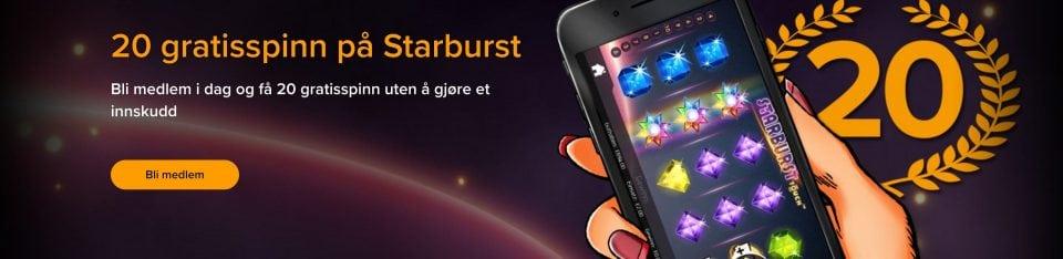 20 gratisspinn på Starburst