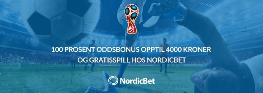 100 prosent oddsbonus opptil 4000 kroner og gratisspill hos NordicBet