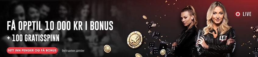 FÅ OPPTIL 10 000 KR I BONUS - Letsbet Banner
