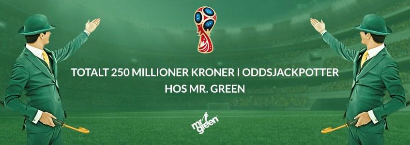 Totalt 250 millioner kroner i oddsjackpotter hos Mr. Green