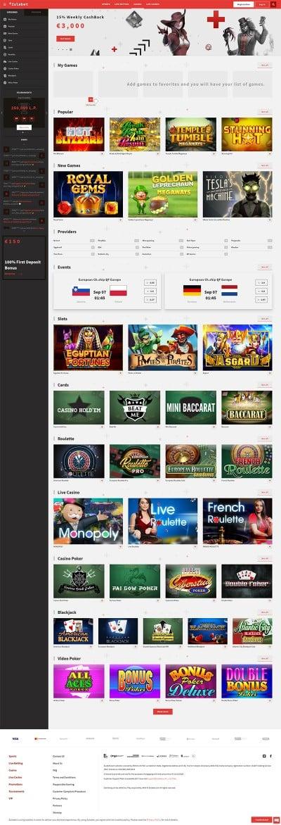 Zulabet Casino Screenshot