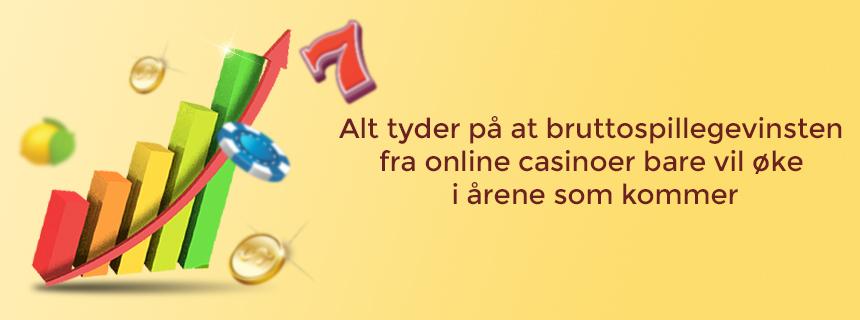 Alt tyder på at bruttospillegevinsten fra online casinoer bare vil øke i årene som kommer