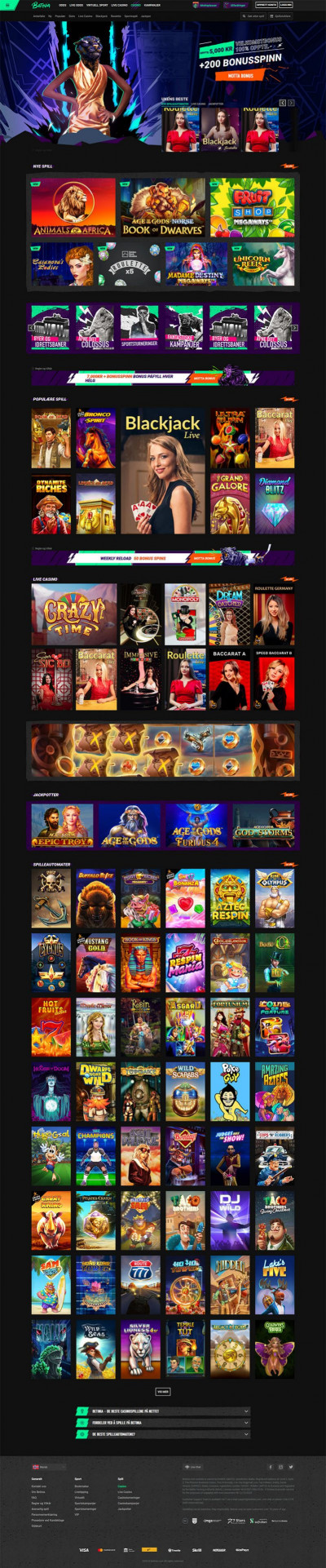 Betinia Casino Screenshot