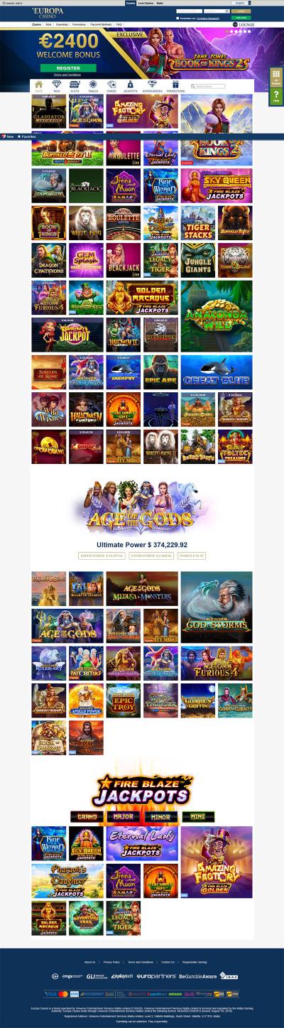 Europa Casino Screenshot
