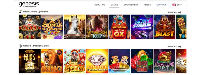 Genesis Gaming Spillutvalg - CasinoTopp