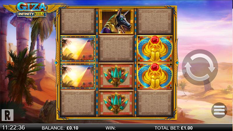 Giza Infinity Reels fra Yggdrasil og ReelPlay er en perle av en spilleautomat Screenshot - CasinoTopp