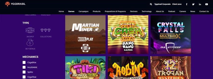 Yggdrasil Gaming Spillutvalg - CasinoTopp