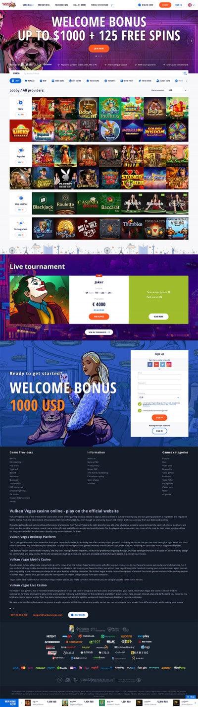 VulkanVegas Casino Screenshot