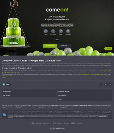 ComeOn Casino Screenshot
