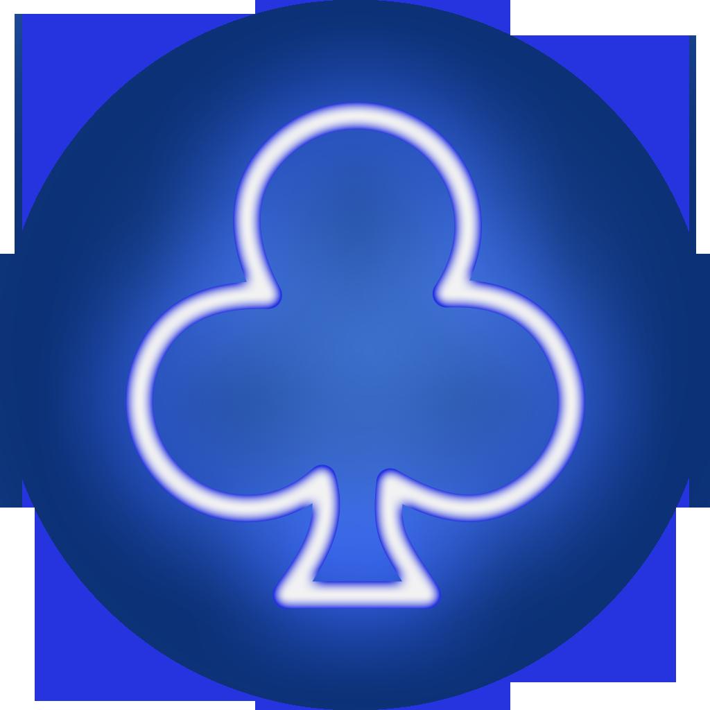 poker clubs icon blue