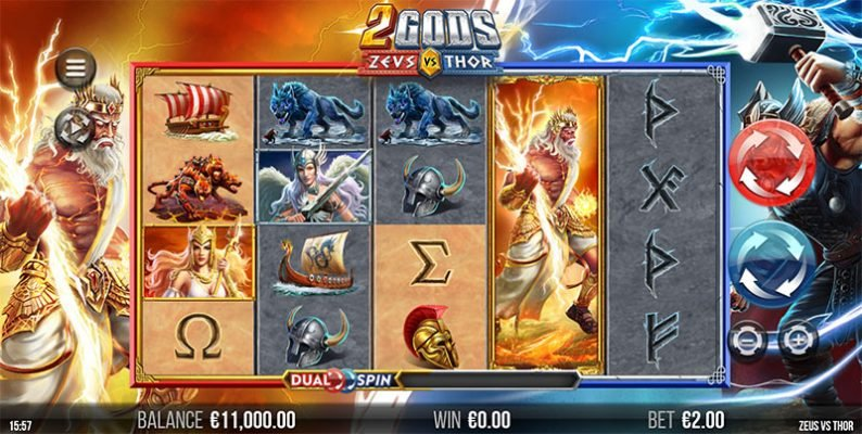 2 Gods Zeus Vs. Thor Slot Screenshot - CasinoTop