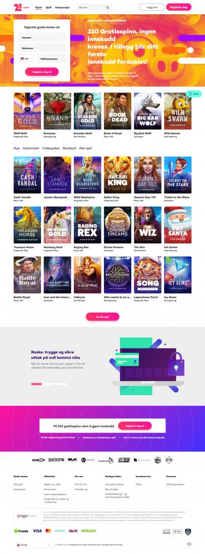 21.com Casino kuvakaappaus