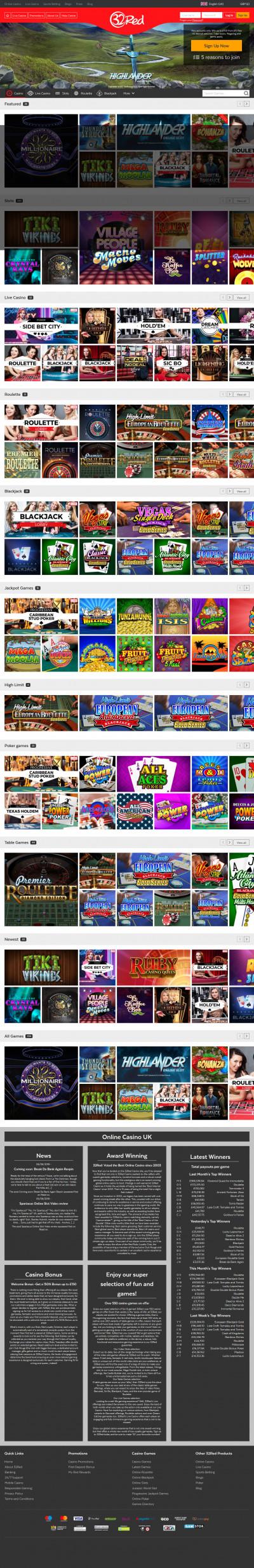 32Red Casino kuvakaappaus