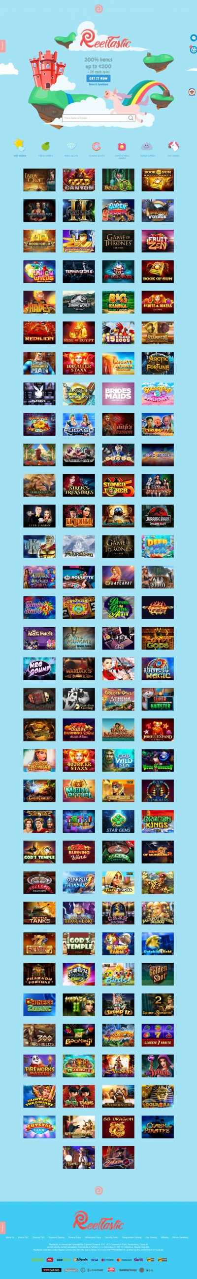 ReelTastic Casino Screenshot