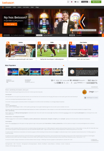 Betsson Casino Screenshot