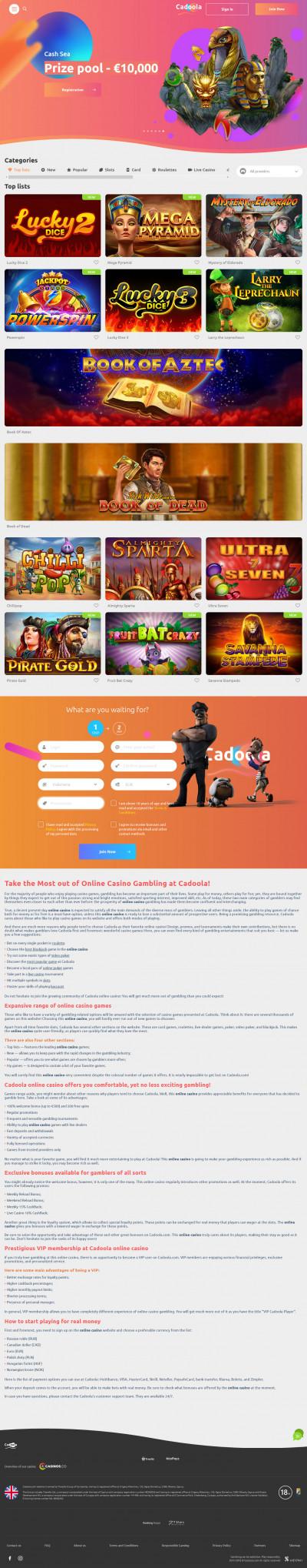 Cadoola Casino Screenshot