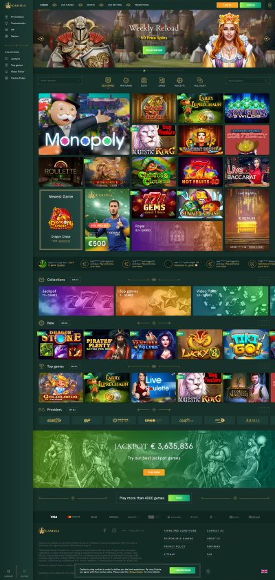 Casinia Casino Screenshot