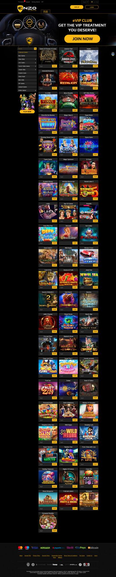 Enzo Casino Screenshot