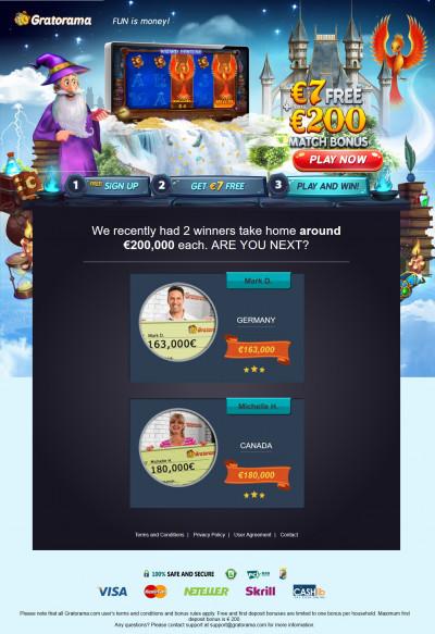 Gratorama Casino kuvakaappaus