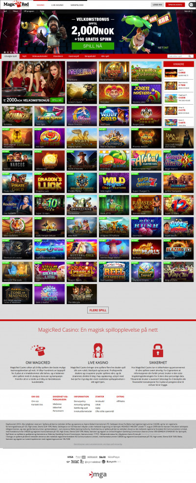 MagicRed Casino Screenshot