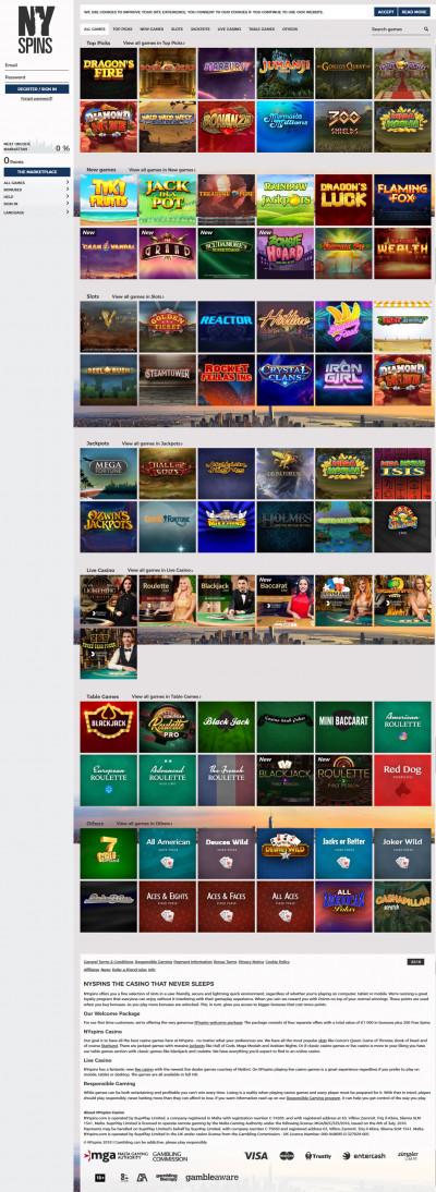 NYspins Casino Screenshot