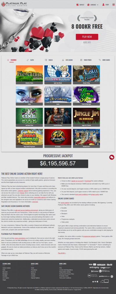 Platinum Play Casino kuvakaappaus