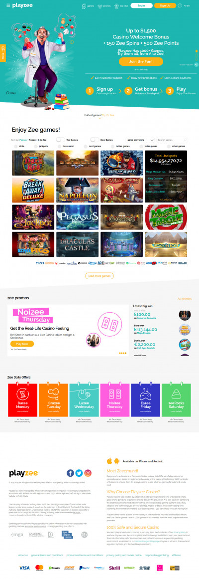 Playzee Casino Screenshot