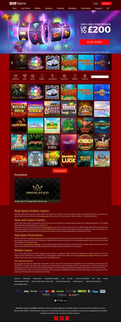 Red Spins Casino Screenshot