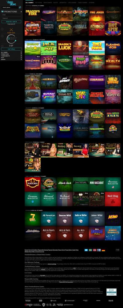 VoodooDreams Casino kuvakaappaus