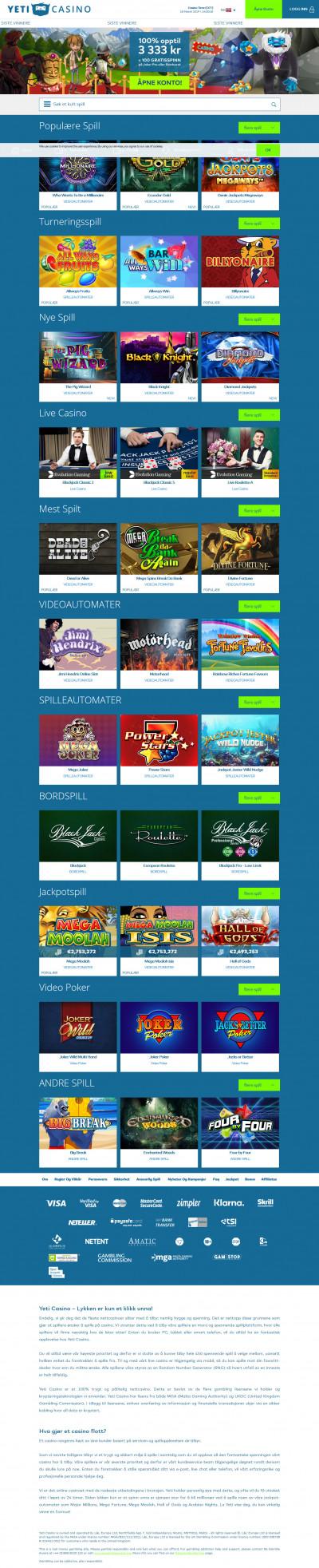 Yeti Casino Screenshot