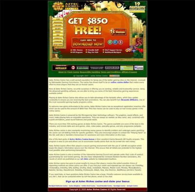 Aztec Riches Casino Screenshot