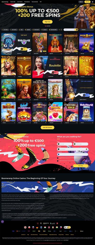 Boomerang Casino Screenshot