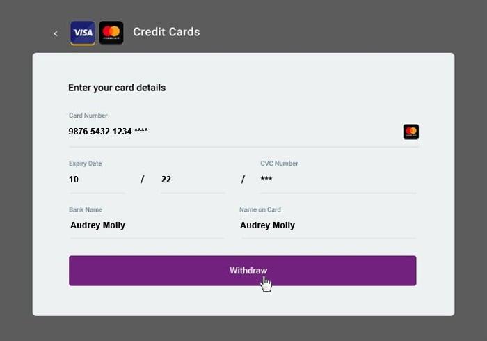 Withdrawal credit cards 3