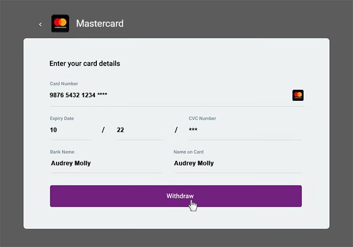 Withdrawal mastercard